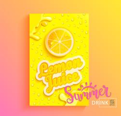 Fresh lemon juice banner with drops from condensation, splashing and fruit slice on gradient hot summer background for brand,logo, template,label,emblem,store,packaging,advertising.Vector illustration