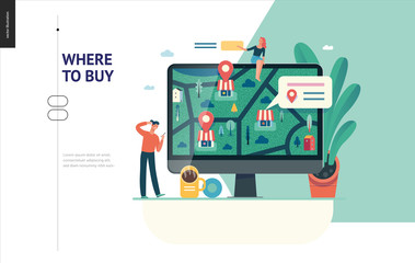 Business series, color 1 - where to buy - modern flat vector concept illustration of map, marked shops, computer screen Selling interaction and purchasing process Creative landing page design template