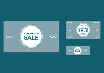Christmas Sale Social Media Cover and Post Layouts with Snowflake Elements