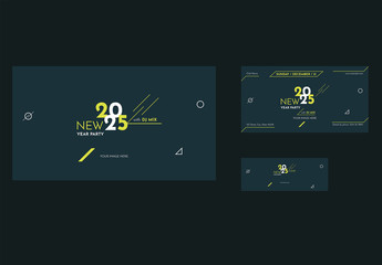 New Years Party Social Media Cover and Post Layouts with Geometric Elements