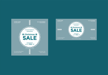 Christmas Sale Social Media Feed Layouts with Snowflake Elements