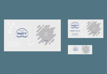 Pool Party Social Media Cover and Post Layouts with Wave and Bubble Elements