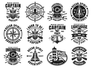 Nautical set of twelve vector vintage emblems