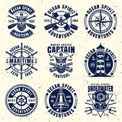 Maritime thematic set of nine vector emblems