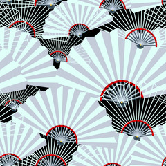 grey fan seamless pattern