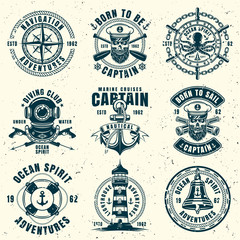 Nautical set of nine vector vintage style emblems