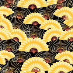 golden fan seamless pattern