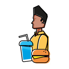young man with hamburger and beverage