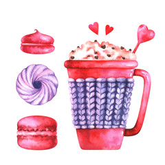 Hand painted illustration of watercolor macaroon, marshmallows, cup with coffee and red hearts isolated on white background