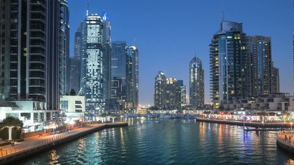 Fotomurales - sunset hyperlapse, Dubai Marina, UAE