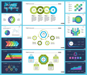 Business presentation page design set can be used for annual report, web design, workflow layout. Analysis concept. Process cart, flowchart, donut, pie graphs, organizational chart, bar graph