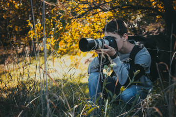 photographer in the forest