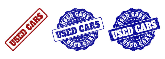 USED CARS grunge stamp seals in red and blue colors. Vector USED CARS signs with grunge surface. Graphic elements are rounded rectangles, rosettes, circles and text tags. Wall mural