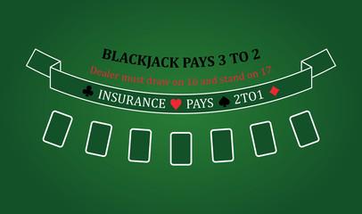 Black jack table, vector illustration, EPS 10, casino