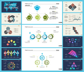 Set of analysis or teamwork concept infographic charts. Graphic elements for presentation slide templates. For corporate report, advertising, banner and brochure design.