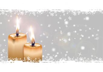 Schnee mit zwei gelben Kerzen, zweiter Advent