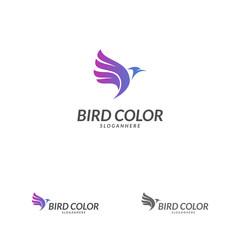 Bird logo vector. Flying Bird Logo design vector template. Dove Pigeon Logotype concept icon.