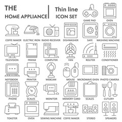 Home appliance SIGNED thin line icon set, household symbols collection, vector sketches, logo illustrations, electrical appliances signs linear pictograms package isolated on white background, eps 10.