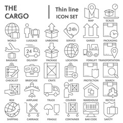 Cargo thin line SIGNED icon set, delivery symbols collection, vector sketches, logo illustrations, shipping signs linear pictograms package isolated on white background, eps 10.