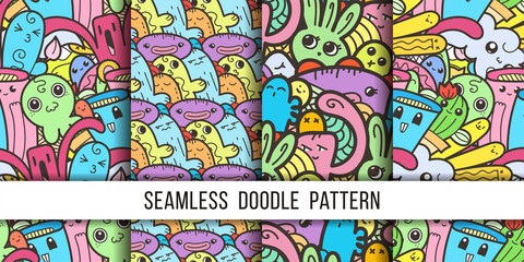 Collection of funny doodle monsters seamless pattern for prints, designs and coloring books