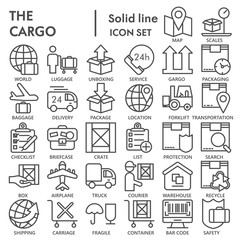 Cargo glyph SIGNED icon set, delivery symbols collection, vector sketches, logo illustrations, shipping signs linear pictograms package isolated on white background, eps 10.