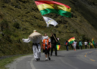 Demonstrators march toward La Paz to protest against Bolivia's President Evo Morales bid for re-election in 2019, in La Cumbre near La Paz