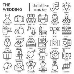 Wedding line SIGNED icon set, love symbols collection, vector sketches, logo illustrations, marriage signs linear pictograms package isolated on white background, eps 10.
