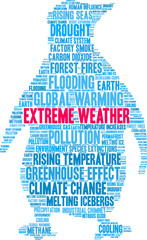 Extreme Weather Word Cloud on a white background.
