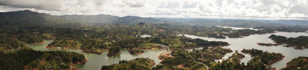 Views from the top of El Peñón de Guatapé Rock formation near Medellín in Colombia.