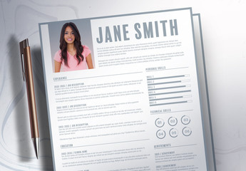 Resume/CV  Layout with Gray Accents