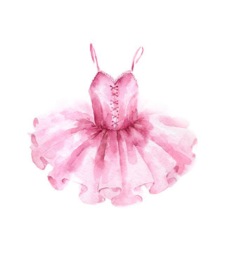 Pink ballet dress. Watercolor illustration isolated on white background.