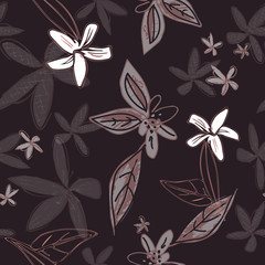 Stylized floral seamless vector pattern- lilies and jasmine with leaves.  White, warm gray, muted plum and black. Layered texture, transparency add a dream like quality. Fashion, textiles, home decor.