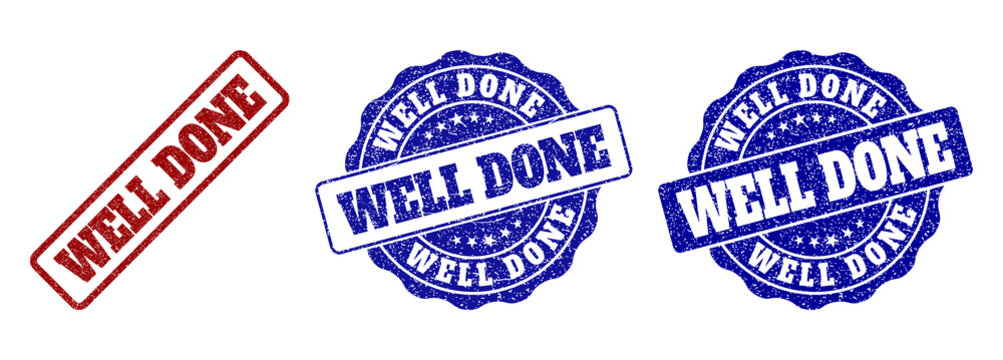 WELL DONE grunge stamp seals in red and blue colors. Vector WELL DONE labels with grunge surface. Graphic elements are rounded rectangles, rosettes, circles and text titles.