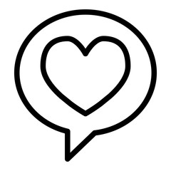 Heart in speech bubble line icon. Love message vector illustration isolated on white. Romance chat outline style design, designed for web and app. Eps 10.
