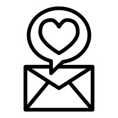 An envelope with love message line icon. Heart and envelope vector illustration isolated on white. Romantic letter outline style design, designed for web and app. Eps 10.
