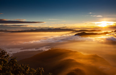 amazing sunrise seen from Sri Pada or Adam's Peak, Sri Lanka