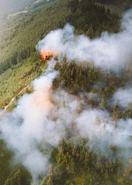Aerial of a wildfire