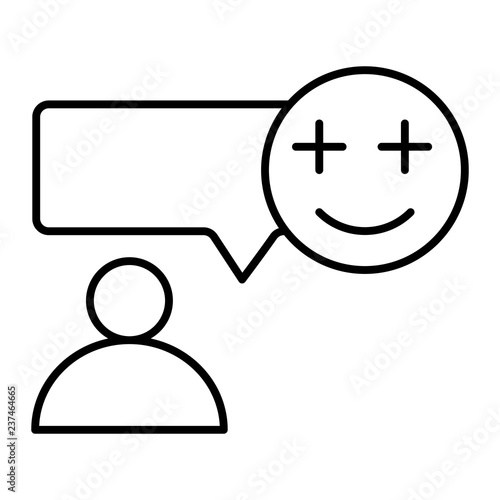 Text message and person thin line icon  Speech bubble with smiling