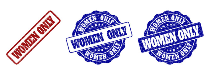 WOMEN ONLY grunge stamp seals in red and blue colors. Vector WOMEN ONLY signs with grunge style. Graphic elements are rounded rectangles, rosettes, circles and text labels. Wall mural