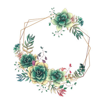 Festive wedding frames with colorful succulents. Beautiful plants, in bouquets for cards, invitations, cards.