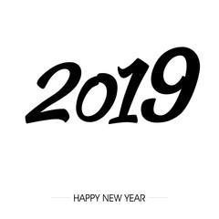 napis zakrzywionym fontem 2019 na tle. Projekt znaku graficznego z napisem szczęśliwego nowego roku. Ilustracja wektorowa