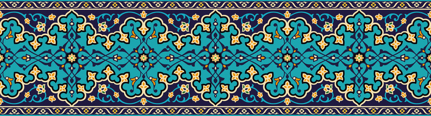 Vector image of majolica. Border to design a variety of Islamic design. Suitable also for the holidays of Ramadan and for holiday cards.