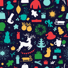 Merry Christmas Background. Holiday Vector Seamless Pattern. Christmas characters and decorations Silhouettes. Xmas ornament. Winter Holidays. New year Wallpaper