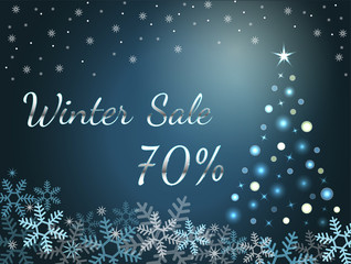 Elegant silver winter lettering design Winter sale 70% with shiny and bright snowflakes on blue background.