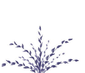 Colorful hand drawn abstract view of purple plant with leaves on white background, isolated cartoon illustration of  violet decor tree painted by chalk and pencil paper chalk, high quality