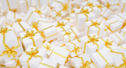 Infinite christmas gift boxes with golden bow