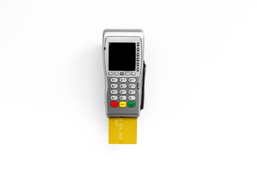 Pay by card. Bank card inserted in payment terminal on white background top view copy space