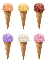 strawberry, vanilla, mango, kiwi fruit, mint or green tea Ice cream scoops in cone isolated on white background