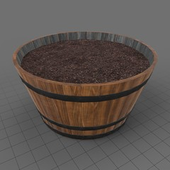 Flower barrel filled with soil