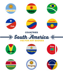 countries of south america | digital badges | vector art | ai file + jpeg